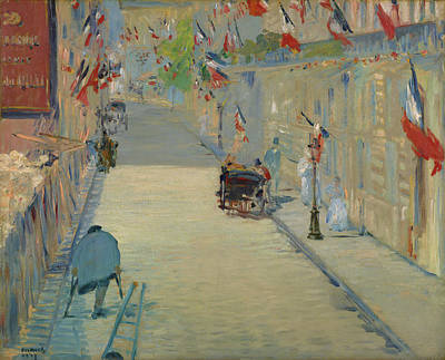 Alleyway Painting - The Rue Mosnier With Flags by Edouard Manet