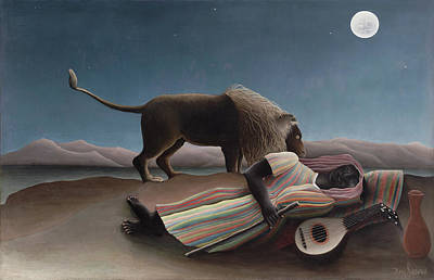 Naive Art Painting - The Sleeping Gypsy by Henri Rousseau