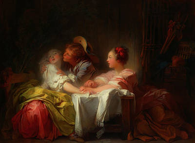Painting - The Stolen Kiss by Jean-Honore Fragonard