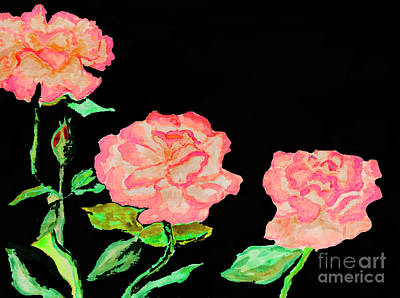 Painting - Three Pink Roses by Irina Afonskaya