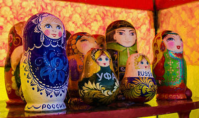 Photograph - Ufa Russian Wooden Puzzle Dolls by John Williams