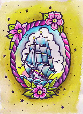 Tall Ships. Pirates Ships Painting - Untitled by Lori Teich