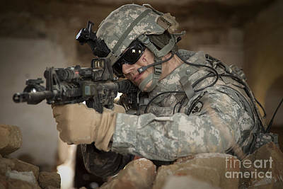 Outpost Photograph - U.s. Army Ranger In Afghanistan Combat by Tom Weber