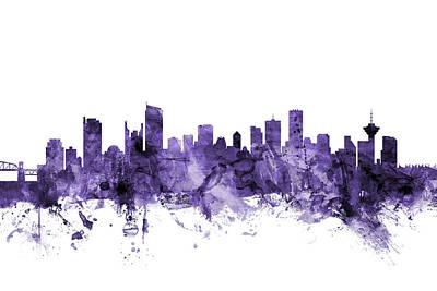 Digital Art - Vancouver Canada Skyline by Michael Tompsett