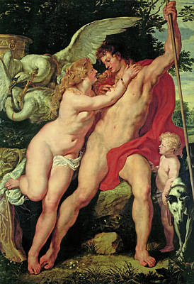 Swan Goddess Painting - Venus And Adonis by Peter Paul Rubens
