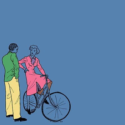 Bike Drawing - Vintage Bike Couple by Karl Addison