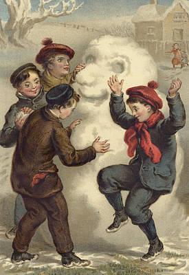 Fun Drawing - Vintage Christmas Card by English School