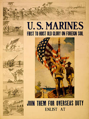 Painting - Vintage Us Marines by Vintage Pix
