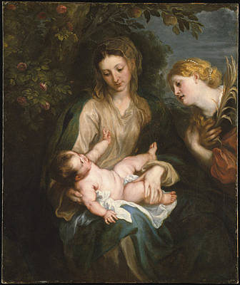 Painting - Virgin And Child With Saint Catherine Of Alexandria by Anthony Van Dyck