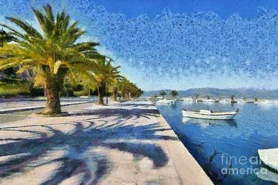 Promenade Painting - Walkway In Nafplio Town by George Atsametakis