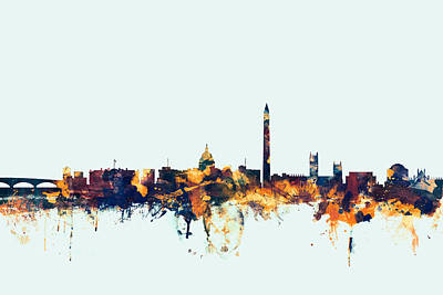 Washington Dc Digital Art - Washington Dc Skyline by Michael Tompsett