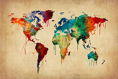 Watercolor Map Digital Art - Watercolor Map Of The World Map by Michael Tompsett