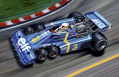 6 Wheel Tyrrell P34 F-1 Car Art Print by David Kyte