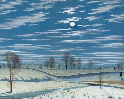 Drawing - Winter Scene In Moonlight by Henry Farrer