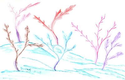 Digital Art - 6 Winter Trees by Barbara Burns