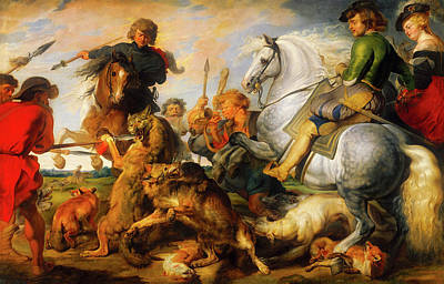 Wildlife Landscape Painting - Wolf And Fox Hunt by Peter Paul Rubens