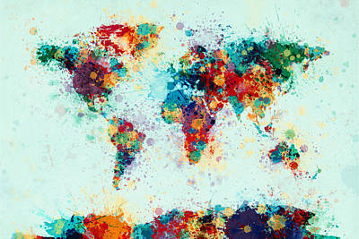 Panoramic Digital Art - World Map Paint Splashes by Michael Tompsett