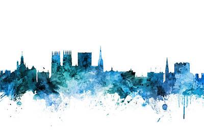 Digital Art - York England Skyline by Michael Tompsett