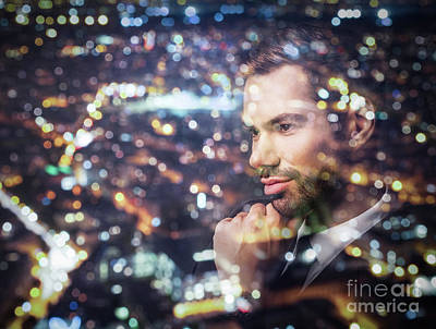 Photograph - Young Businessman Thinking. Double Exposure City Background. by Michal Bednarek