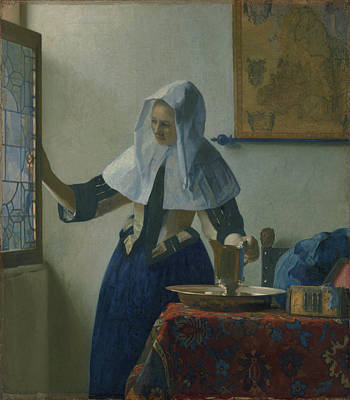 Pitcher Painting - Young Woman With A Water Pitcher by Johannes Vermeer