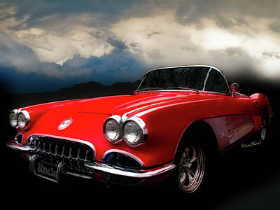 60 Corvette Roadster In Red Art Print