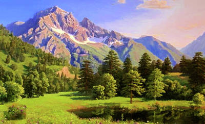Tree Painting - Nature Landscape Graphics by Edna Wallen