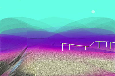Digital Art - 604 - Desert Landscape With Fence 2017 by Irmgard Schoendorf Welch