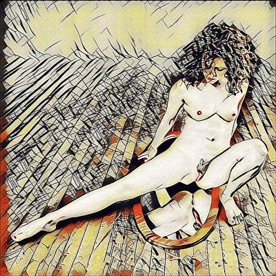Digital Art - 6078s-kd Self Exam Mirror On Floor Erotica In The Style Of Kandinsky by Chris Maher
