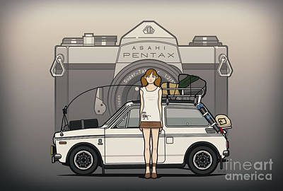 Crisis Mixed Media - Honda N600 Rally Kei Car With Japanese 60's Asahi Pentax Commercial Girl by Monkey Crisis On Mars