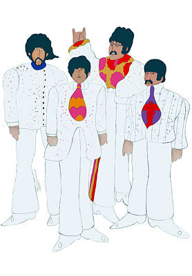 The Beatles Art Drawing - 60's Love... Yellow Submarine by Mark Tonelli