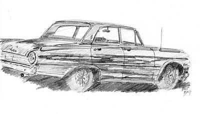 Drawing - 61 Galaxie Sedan Sketch by David King