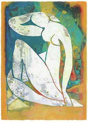 Charcoal Mixed Media - Nude Pop Stylised Art Poster by Kim Wang