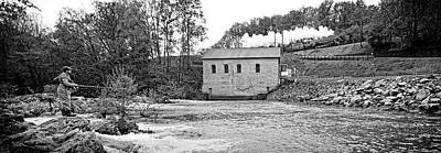 611 And Fisherman At Roanoke River Power House In Black And White Art Print