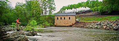 611 And Fisherman At Roanoke River Power House Art Print