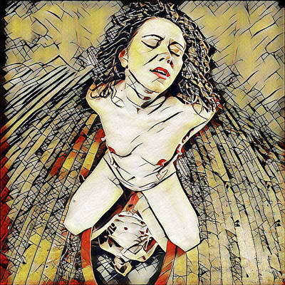 Digital Art - 6151s-kd Aroused Woman Kneeling Over Mirror Erotica In The Style Of Kandinsky by Chris Maher