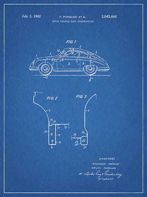Drawing - 62 Porsche Patent by Dan Sproul