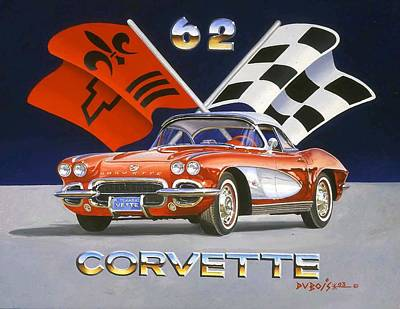 Painting - 62 Vette by Howard Dubois