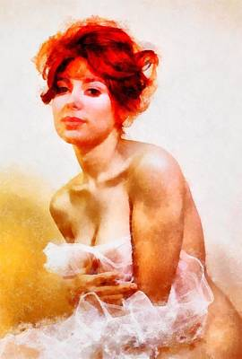 Pussy Painting - Vintage Pinup by Frank Falcon