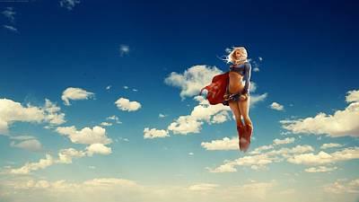 Superwoman Digital Art - 62391 Anime Flying Clouds Blonde Superwoman Dc Comics Supergirl Superheroines by Anne Pool