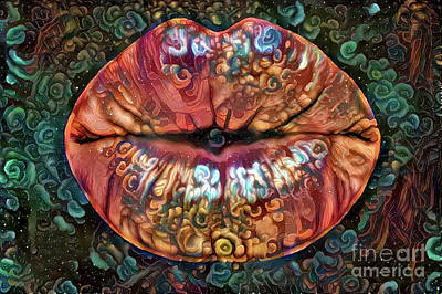 Kissing Lips Art Print