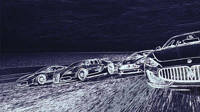 Digital Art - Supercars  by PixBreak Art
