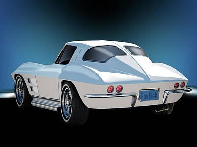 Corvette Digital Art - 63 Vette Rear Illustration For Story by Chas Sinklier