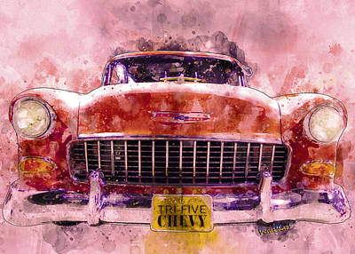 Digital Art - 63 Year Old 55 Chevy Bow Tie Out To Cruise The High Road by Chas Sinklier