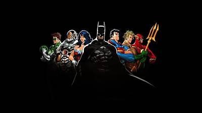 63970 Comics Dc Comics Justice League The Flash Batman Superman Wonder Woman Green Lantern Aquaman Art Print