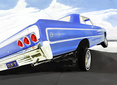 Watercolor Dragonflies - 64 Impala Lowrider by Colin Tresadern