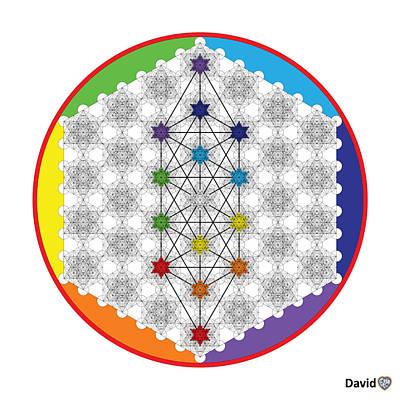Digital Art - 64 Tetra Chakra Activation Grid by David Diamondheart