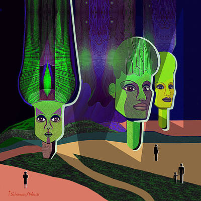 Sphinx Digital Art - 640 - Visit To The Sphinxes .... by Irmgard Schoendorf Welch