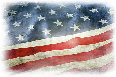 Usa Flag Art Print by Les Cunliffe