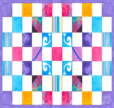 Painting - #65 Wtrclr Checkerboard by Expressionistart studio Priscilla Batzell