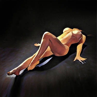 Digital Art - 6550s-amg Watercolor Nude Woman Leg Up  by Chris Maher